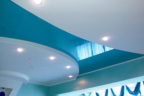 Натяжные потолки глянцевые многоуровневые модель 25